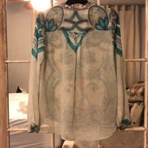 Twelfth Street by Cynthia Vincent Tops - Sheer printed blouse
